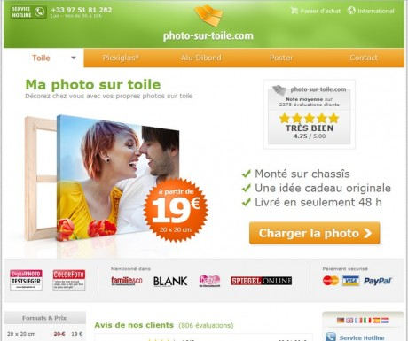 Le site internet photo-sur-toile.com