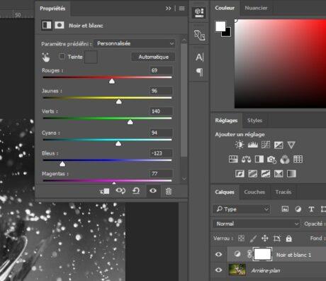 Conversion d'image en noir et blanc avec Photoshop, avec l'outil noir et blanc