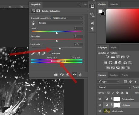 Photoshop et calque de réglage teinte saturation pour la conversion en noir et blanc